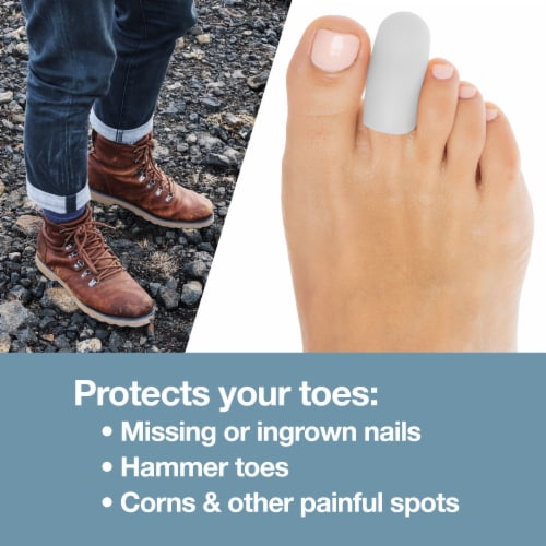 ZenToes 6 Pack Gel Toe Caps - Cushions and Protects Toes from Rubbing - (Small, White) Perspective: top