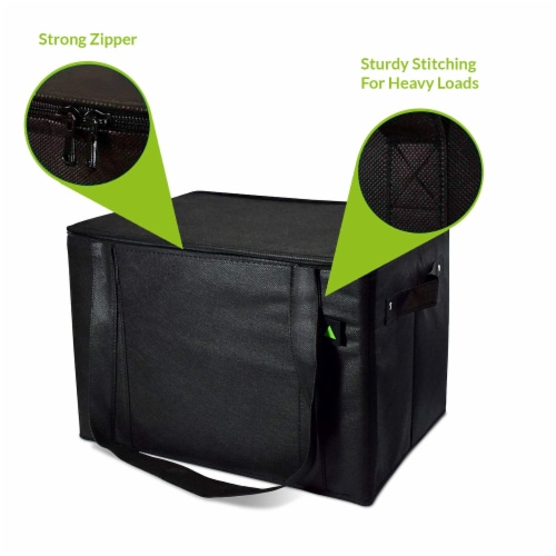 Insulated Grocery Bag Zippered Top, Reusable Shopping Tote, Collapsible Cooler With Handles Perspective: top