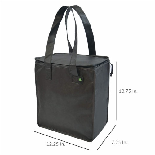 """12.5x7.75x14"""" 2 Insulated Reusable Grocery Bags, Thermal Shopping Tote w/ Zippered Top Perspective: top"""