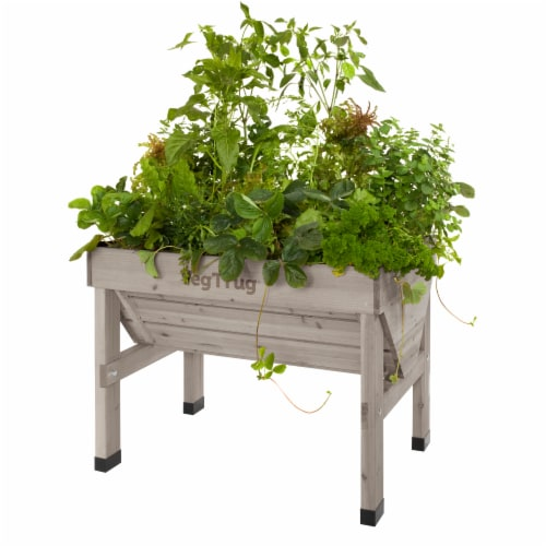 VegTrug Small Raised Bed Planter - Gray Wash FSC 100% Perspective: top