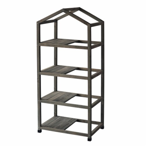 VT Nursery - 4 Tier Wooden Greenhouse FSC 100% Gray Wash (with PE cover) Perspective: top