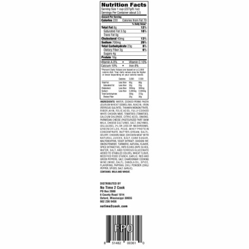 No Time 2 Cook Chicken Tetrazzini Frozen Meal Perspective: top