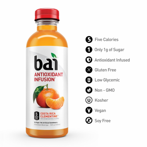 Bai Costa Rica Clementine Antioxidant Infused Beverage 6 x 18 fl oz Perspective: top