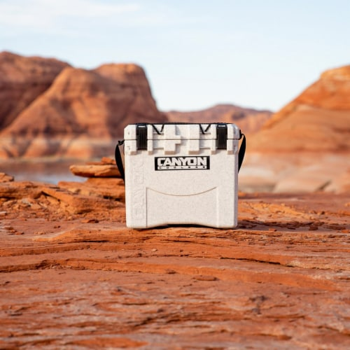 Canyon Coolers Scout 22 Quart 20 Liter Insulated Cooler w/ Ties, White Marble Perspective: top
