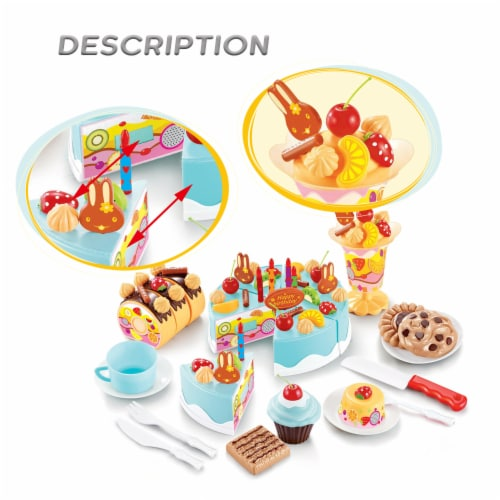 Birthday Cake Play Food Set Light Blue 75 Pieces Plastic Kitchen Cutting Toy Pretend Play Perspective: top