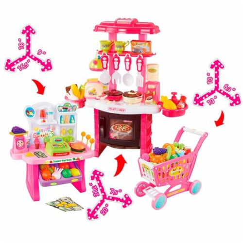 Mundo Toys 110 Piece Kitchen Set For Kids with Mini Supermarket For Girls Perspective: top