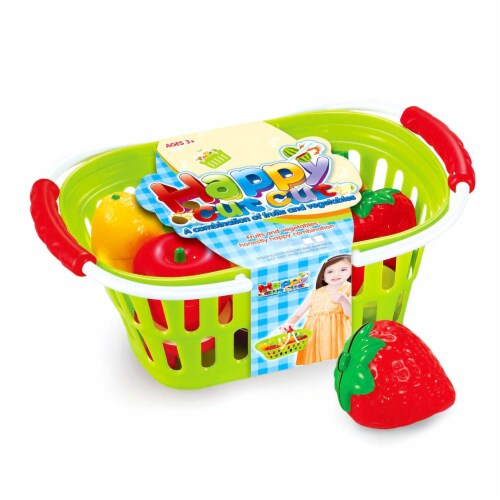 Play Food Set 11 pcs Plastic Cutting Fruits Vegetables w/basket Perspective: top