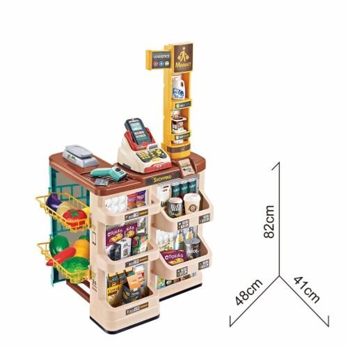 Supermarket Play Set 49 PCS w/Shopping Cart, Cash Register, Scanner, Balance, cut fruits Perspective: top