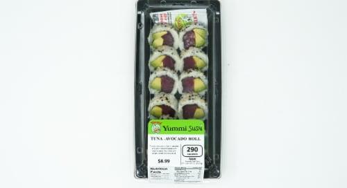Yummi Sushi Tuna Avocado Roll Perspective: top
