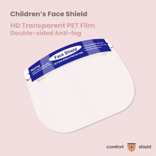 Parasol Kids Blue Face Shields with Elastic Foam Band Perspective: top