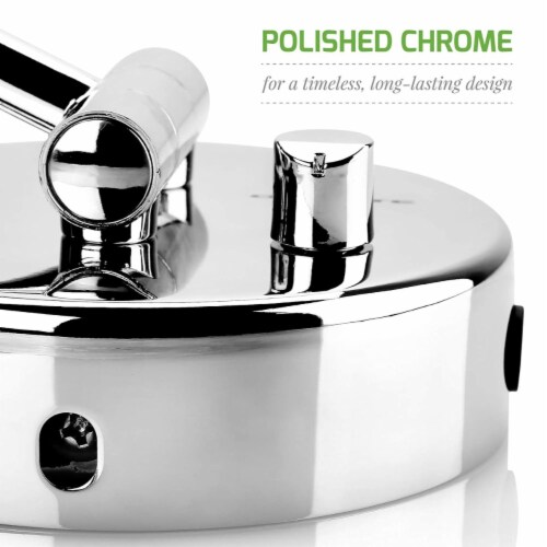 Ovente Polished Chrome Circle Standing Travel Vanity Makeup Mirror Perspective: top