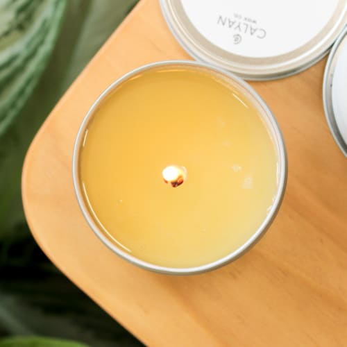 Calyan Wax Co. Leather + Oak Metal Tin Soy Candle Perspective: top