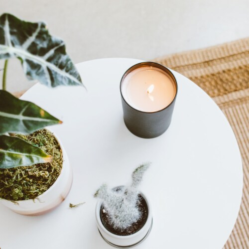 Calyan Wax Co. Leather + Oak Matte Black Glass Soy Candle Perspective: top