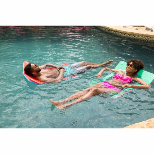 Floatation iQ Floating Foam Pool Lounger Water Hammock H Chair, Large Pink/Lime Perspective: top