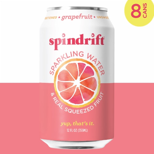Spindrift Grapefruit Unsweetened Sparkling Water Perspective: top