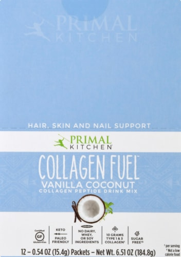 Primal Kitchen Collagen Fuel Vanilla Coconut Collagen Peptide Drink Mix 12 Count Perspective: top