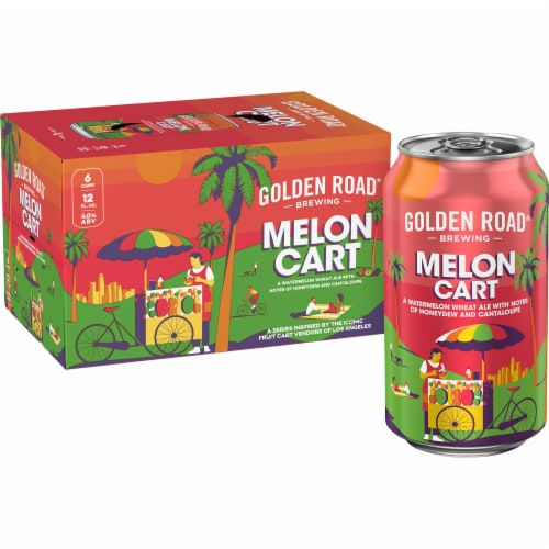 Golden Road Brewing Melon Cart Watermelon Wheat Ale Perspective: top