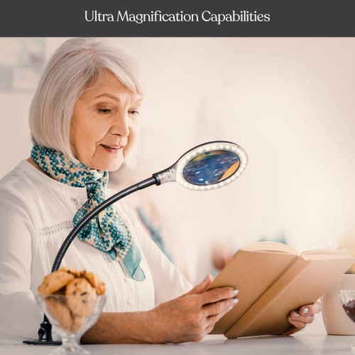 LightView Flex Magnifier with Bright LED - Magnifying Glass Lamp for Comfort & Ease of Use Perspective: top