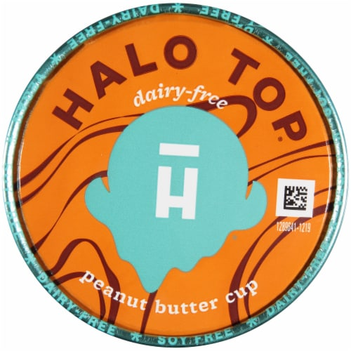 Halo Top Dairy-Free Soy-Free Vegan Peanut Butter Cup Frozen Dessert Perspective: top