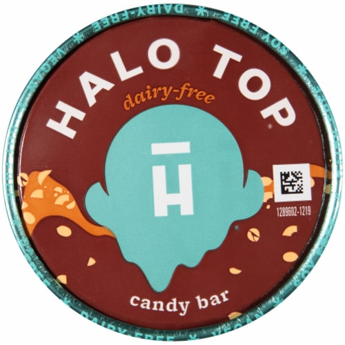 Halo Top Dairy-Free & Soy-Free Vegan Candy Bar Frozen Dessert Perspective: top