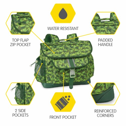 Bixbee Medium Dino Camo Backpack - Green Perspective: top