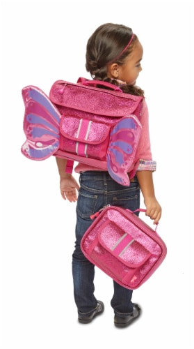 Bixbee Small Sparkalicious Butterflyer Backpack - Ruby Perspective: top