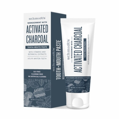 Schmidt's™ Flouride-Free Wondermint Toothpaste with Activated Charcoal Perspective: top