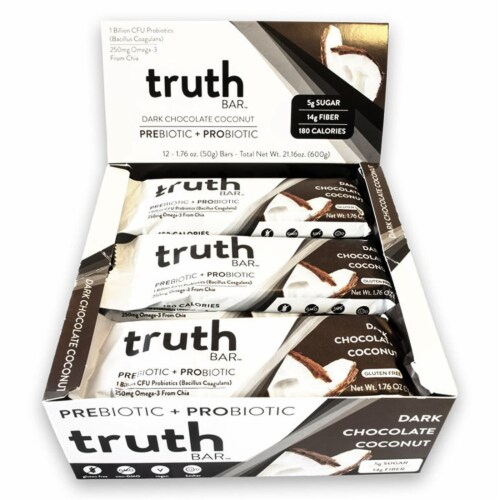 Truth Bar Dark Chocolate Coconut Probiotic Bars Perspective: top