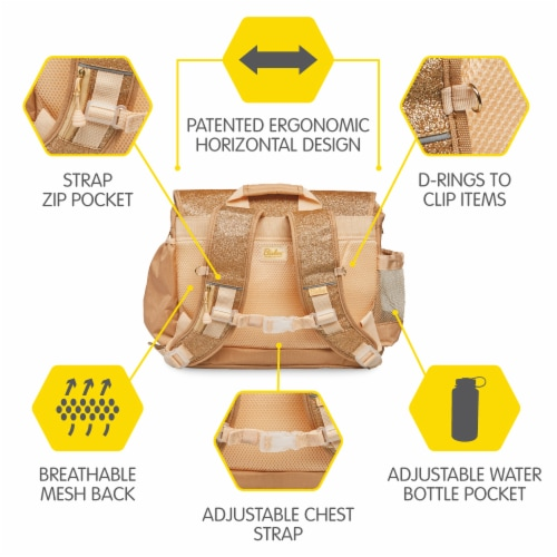 Bixbee Large Sparkalicious Backpack - Gold Perspective: top