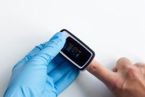 NuvoMed Fingertip Blood Oxygen Pulse Oximeter Perspective: top