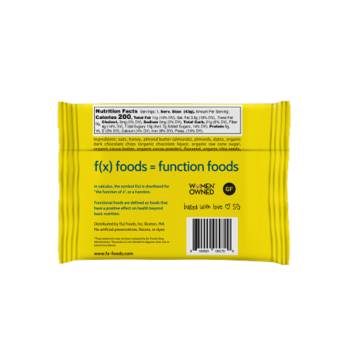 Brain Food - 12 pack gluten free, all-natural nutrition bar, granola bar, fx foods Perspective: top