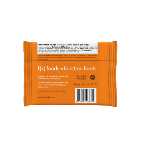 Muscle Food - 12 pack gluten free, all-natural nutrition bar, granola bar, fx foods Perspective: top