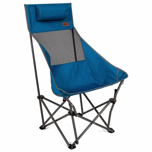 Mac Sports XP High Back Folding Portable Compact Lightweight Camping Chair, Blue Perspective: top