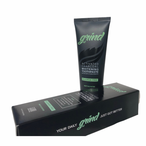 Grind Activated Charcoal Whitening Toothpaste w/ Hydroxyapatite, Fluoride-Free, Vegan, (4oz) Perspective: top