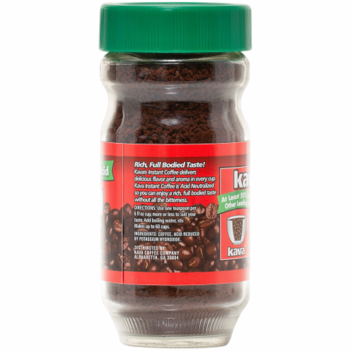 Kava Decaf Reduced Low-Acid Instant Coffee, 4 Ounce Glass Jar Perspective: top