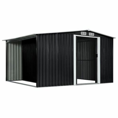 "vidaXL Garden Shed with Sliding Doors Anthracite 129.7""x80.7""x70.1"" Steel Perspective: top"