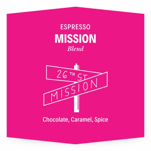 3-19 Coffee Mission Espresso Blend Whole Bean Coffee Perspective: top