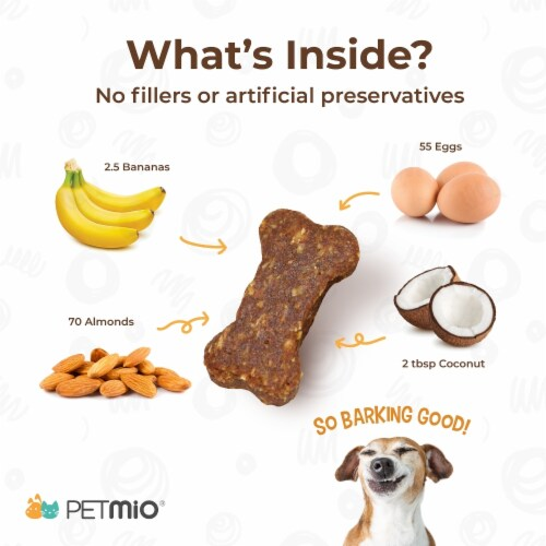PetMio Bites Naturals. Human-Grade. All-Natural. Banana Almond Butter Dog Treats - Single Jar Perspective: top