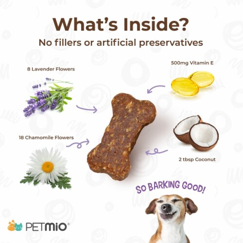 PetMio Bites Plus Gentle Calming Supplement for Dogs Non-Sedative with Lavender and Chamomile Perspective: top