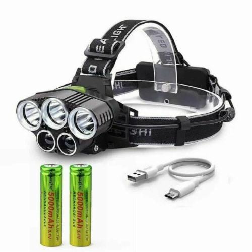 250000LM 5X T6 LED Headlamp Rechargeable Head Light Flashlight Torch Lamp Perspective: top
