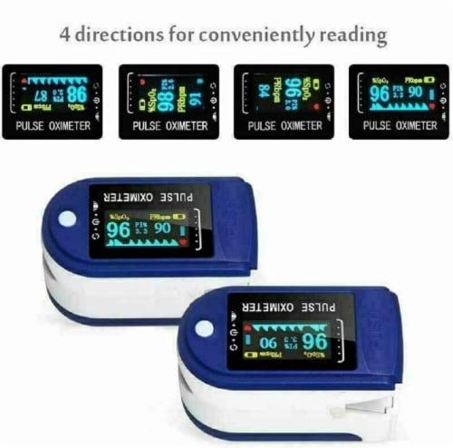 Pulse Oximeter Fingertip Blood Oxygen SpO2 Monitor PR PI Heart Rate Oximeter Perspective: top