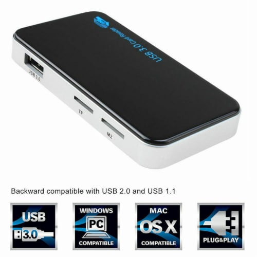 SANOXY USB 3.0 8-in-1 Compact Flash Multi Card Reader CF Adapter Micro SD MS XD 5Gbps Perspective: top