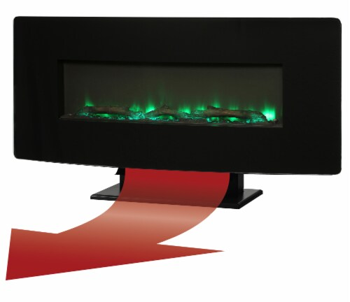 Muskoka Curved Front Wall Mount Electric Glass Fireplace - Black Perspective: top