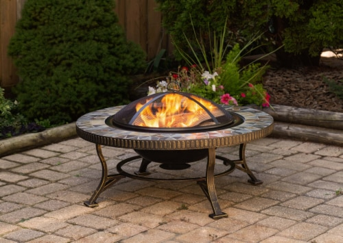 Pleasant Hearth Olivia Slate Top Fire Pit Perspective: top