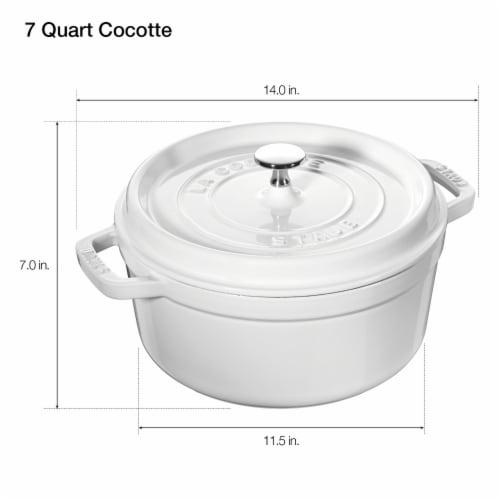 Staub Cast Iron 7-qt Round Cocotte - White Perspective: top