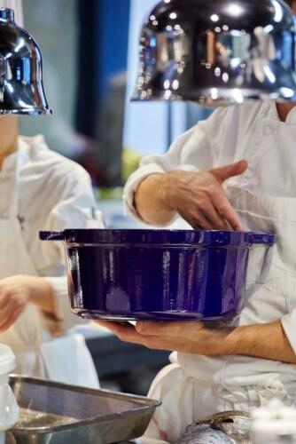 Staub Cast Iron 9-qt Round Cocotte - Dark Blue Perspective: top