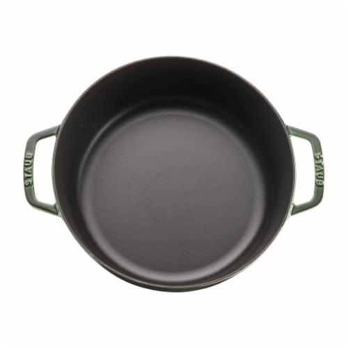 Staub Cast Iron 6-qt Cochon Shallow Wide Round Cocotte - Basil Perspective: top