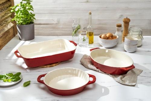Staub Ceramics 3-pc Mixed Baking Dish Set - Cherry Perspective: top
