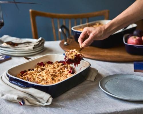 Staub Ceramics 3-pc Rectangular Baking Dish Set - Dark Blue Perspective: top