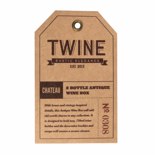 2 Bottle Antique Wooden Wine Box by Twine® Perspective: top